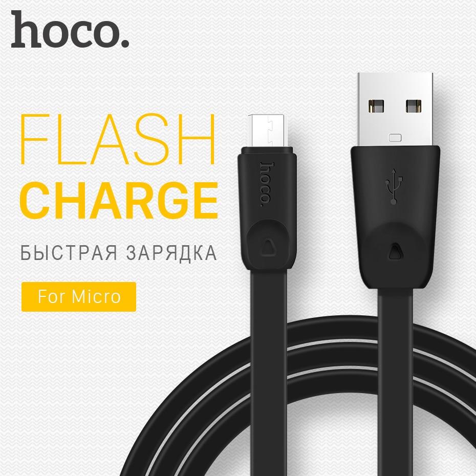 HOCO Micro USB-kabel OTG laddningskablar Flatkablar USB Dataöverföring Sync Mobiltelefoner Laddare För Xiaomi Samsung LG 2.4A 1M 2M