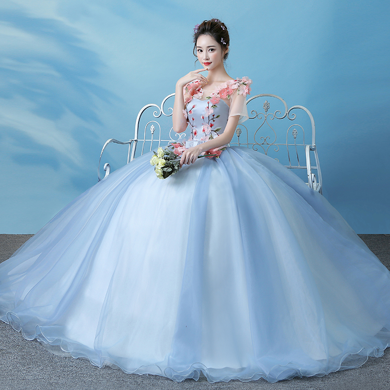 It\'s Yiiya Blue Illusion Wedding Dresses Ball Gown Appliques Floor ...