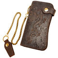 Quality Cattle Male Organizal Genuine leather Dargon Tiger Emboss Checkbook Iron Chain Wallet Purse Clutch Handbag 1088