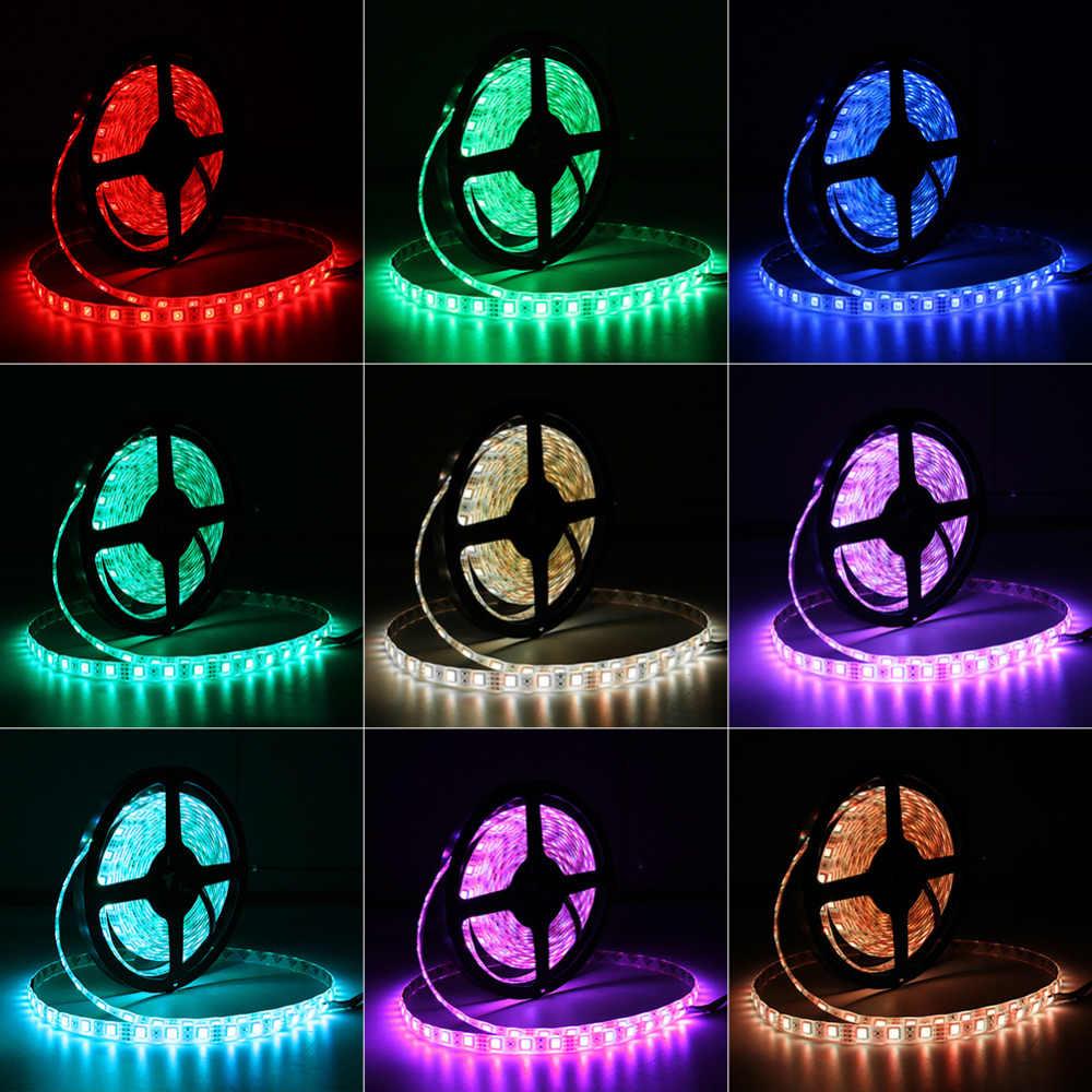 Taśmy LED światła elastyczne dioda wstążka taśma DC 12V 1M 2M 3M 4M 5M SMD 2835 5050 RGB wodoodporna zasilania zdalnego oświetlenia 24Key 44Key