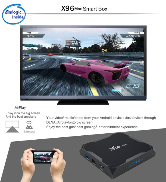 ТВ-бокс X96Max VONTAR Android 8,1 четырехъядерный процессор Amlogic S905X2 4 ГБ 32 ГБ 64 Гб 2,4 г и 5 ГГц Wifi BT 1000 M 4 K телеприставка X96 Max X2 2