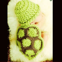 Turtle Design Newborn Baby Photography Props Crochet Knitting Baby Turtle Suit Cute Baby Turtle Outfits For