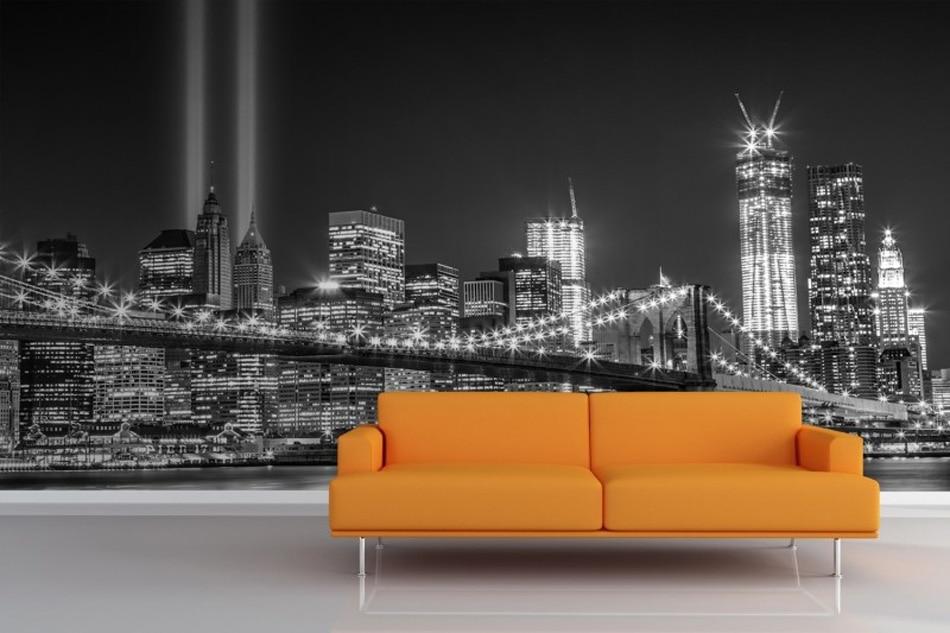 3d Brick Embossed Wallpaper New York City Night Greyscale Trade Centre Glitter