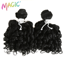 Magic 2bundlespack Women Ombre Hair Weaving Kinky Curly Hair Extensions Weft Heat Resistance Synthetic Hair Weave 14inch