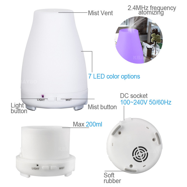 KBAYBO Ultrasonic Humidifier Aromatherapy Oil Diffuser Cool Mist Color LED Lights Esential Oil Diffuser Remote Control 3