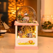 Hoomeda MC002 Happiness Ferris Wheel DIY Dollhouse Kit With LED Light Music Decor Collection Birthday Holiday