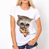 2017 New Arrival Women Cat Lovers Pizza Pinted T Shirts Summer White Short Sleeve Female Tee