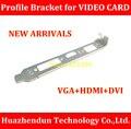 Alta Qualidade NOVO Suporte de Chassis com VGA + HDMI + DVI Slot 12 CM Suporte de Perfil para Placa De Vídeo 1 PÇS/LOTE