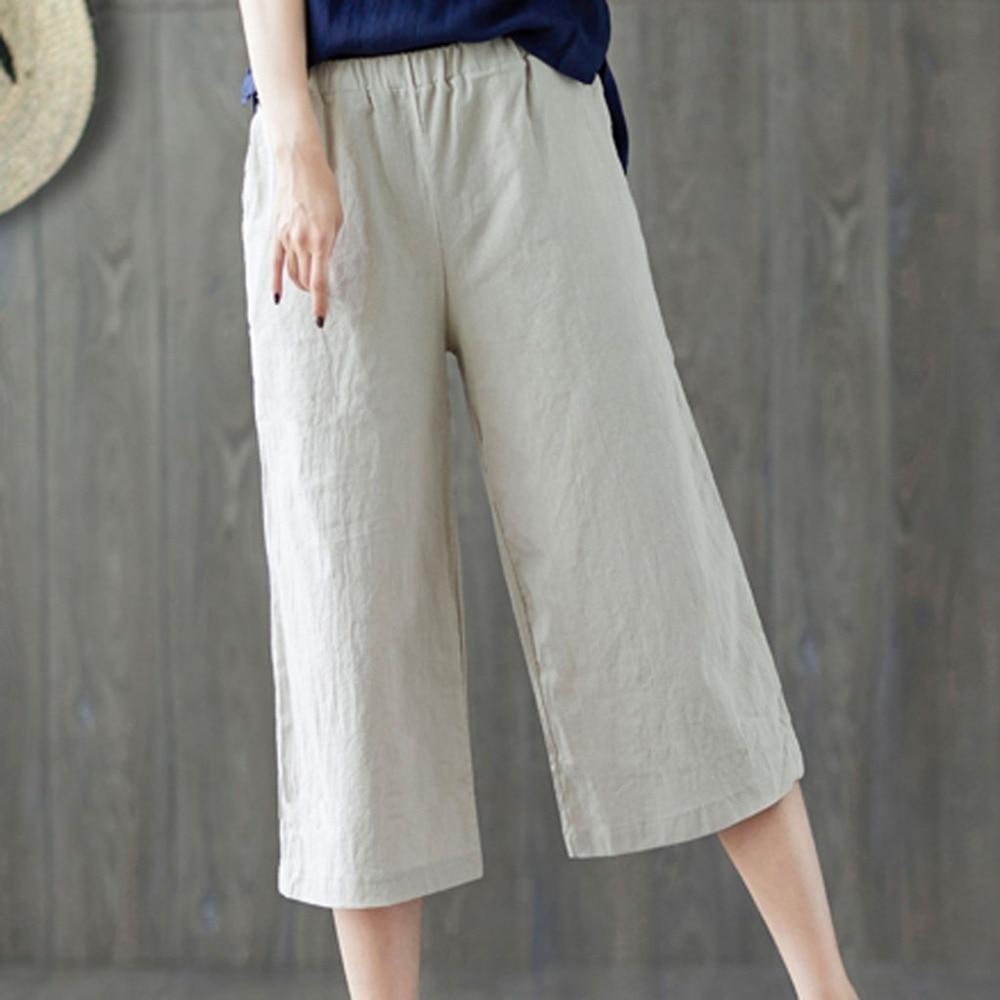Women Summer   Pants   Leisure   Pants     pants   women plus size 2019 Linen Trouser Cropped   Wide     Leg     Pants   Y514