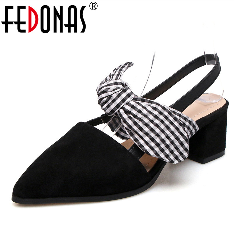 FEDONAS 2018 New Women Pumps Female Genuine Leather Shoes Woman High Heel Bowknow Wedding Party Shoes Comfy Female Pumps Shoes aercourm a 2018 women black fashion shoes female bright genuine leather shoes pearl high heel pumps bow brand new shoes z333