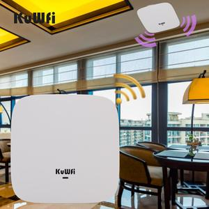 Image 1 - KuWFi Ceiling Mount Wireless Access Point, Dual Band Wireless Wi Fi AP Router with 48V POE Long Range Wall Mount Ceiling Router