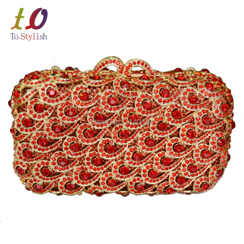 Stylish Luxury Crystal Red Evening Clutches Party Bag Golden Prom Banquet Pouch for Women Wedding Femme Glitter Clutch Bag 88225 top design red crystal evening bag roundness luxury clutch bags wedding party purse prom handbag silver banquet bag day clutches
