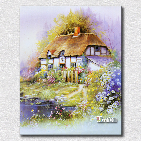 Beautiful Dream House Canvas Prints Landscape Simple Home Painting Picture For Decoration In Calligraphy From Garden On