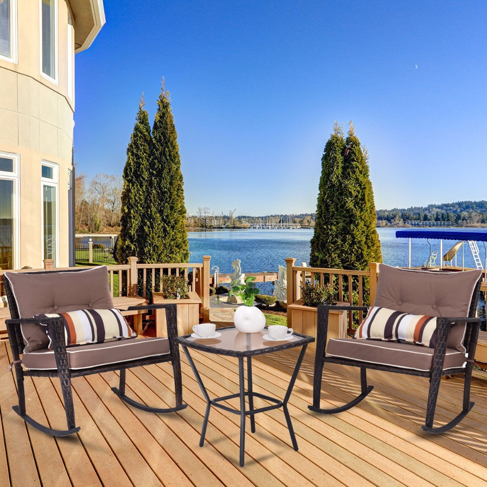 Giantex 3 PC Patio Rattan Wicker Furniture Set Rocking Chair Coffee Table Cushions New Outdoor Furniture HW57335GR цены
