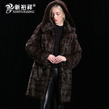 Customizable Real mink fur winter coat for women Hood Long thick warm coat Natural fur Genuine Leather Real fur coat women 2017