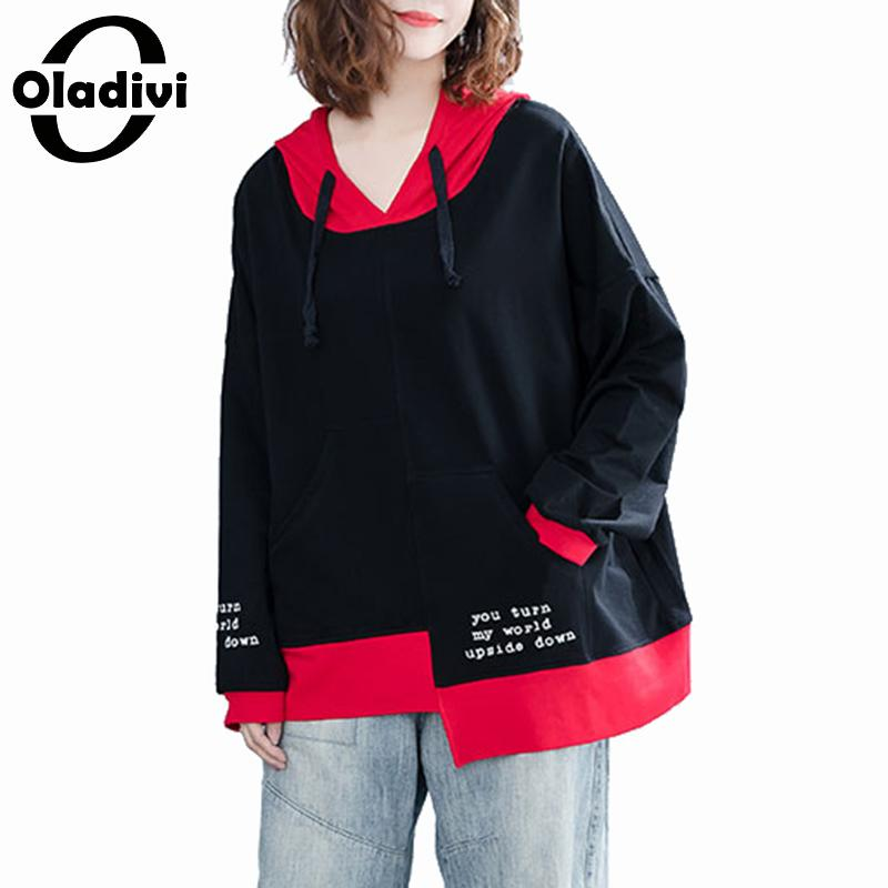 Oladivi Plus Size Women Cotton Hoodies & Sweatshirt Lady Long Sleeve Print Hooded Top Tee Shirt Blusa Female Casual shirt Tunics