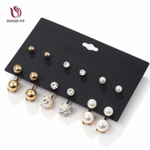 Фотография 6 Pairs/pack Piercing Front & Back Imitated Pearl Mixed Stud Earrings Set for Women Small Crystal Ear Studs Brincos Aros Jewelry
