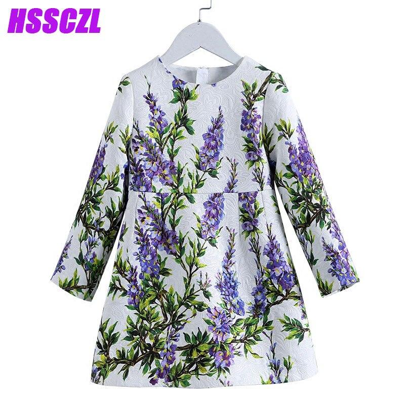 HSSCZL girls dresses spring new children's clothing long-sleeved dress high-end brand girl floral princess high end kids dress aliwilliam high end brand 2017 new men s
