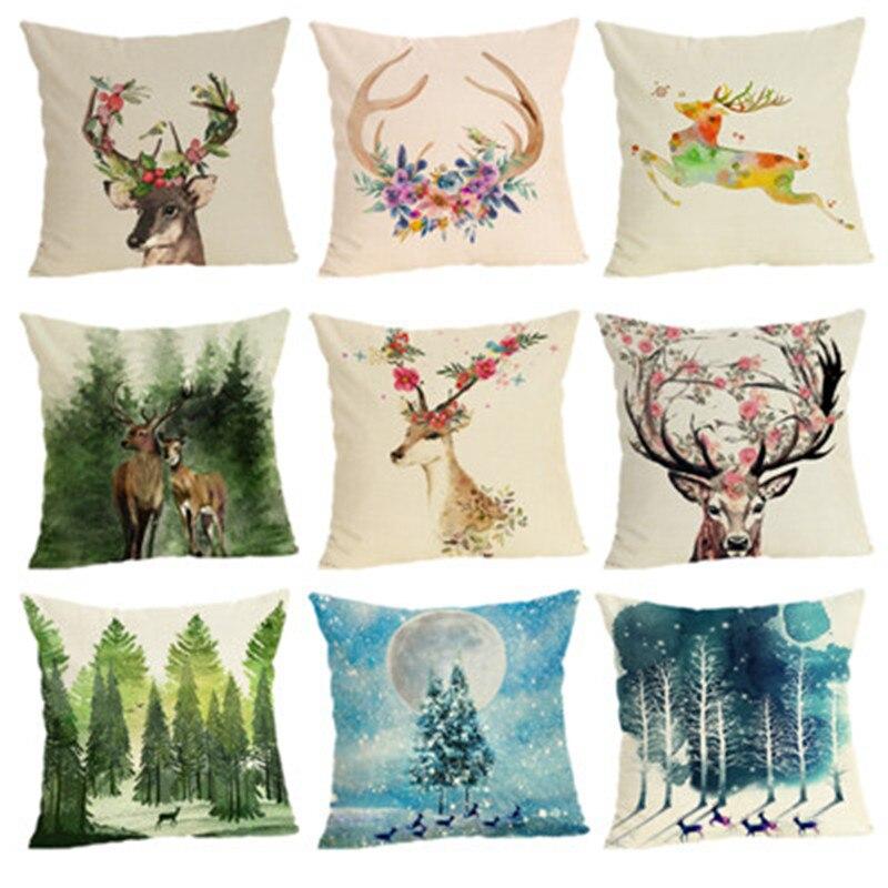 Deer Cushion Cover Home Decor Cushion Case Houseware Throw Pillowcase Linen Square 45x45cm Cushion Cojines
