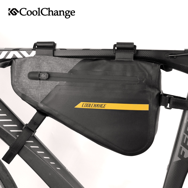 CoolChange Bicycle Bag Triangle Reflective Front Frame Cycling Bag Waterproof Large Capacity Bike Tool Pannier Bike Accessories rockbros bike triangle bag waterproof large capacity bicycle bags panniers frame front mtb road pannier cycling accessories