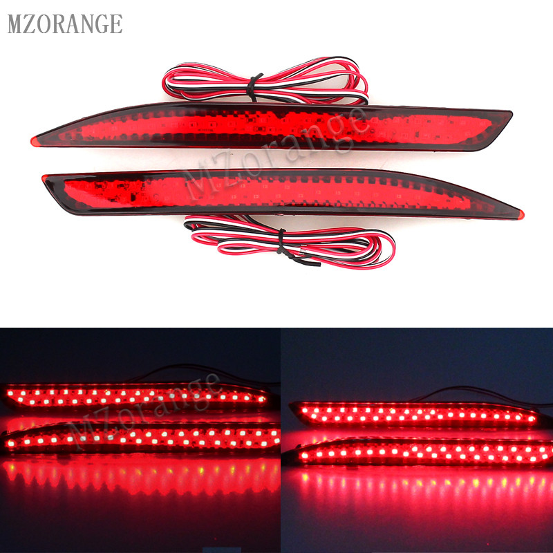 MZORANGE Car LED Rear Bumper Reflector Red Parking Warning Stop Brake Light Tail Fog Lamp For Honda Accord 9th 2014-2016