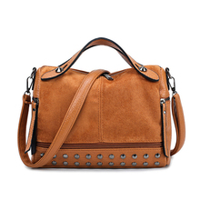 купить Vintage PU Leather Women Bag Rivet Large Capacity Ladies Handbags Shoulder Bag Sac A Main Crossbody Bags For Women Messenger по цене 917.7 рублей