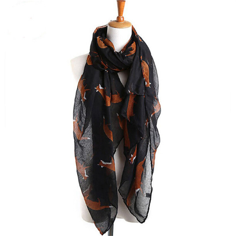 2017 New Fashion Women Scarf Fox Pashmina Animal Print Long Length Infinity Ring Wraps Bufanda Mujer Female Shawls 7 Colors J053
