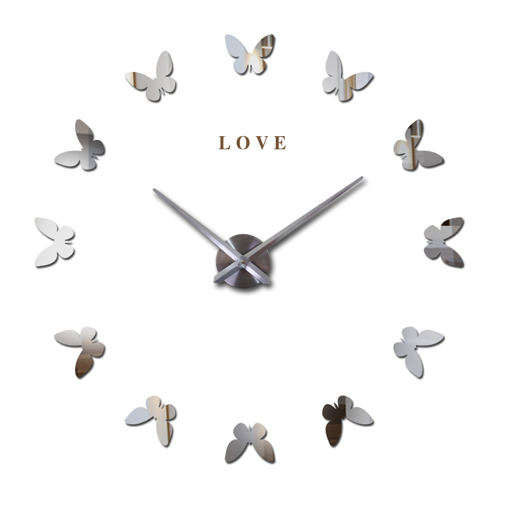 Love Letters 2016 3D Large Wall Clock Butterfly Personalized DIY Quartz Wall Clock Acrylic+EVA+Metal Mirror Wall Sticker
