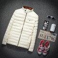 Осень Зима Вниз Хлопок Pu Кожаная Куртка, Ultra Light Тонкие плюс размер зимние куртки для мужчин Мода мужская Верхняя Одежда пальто 780