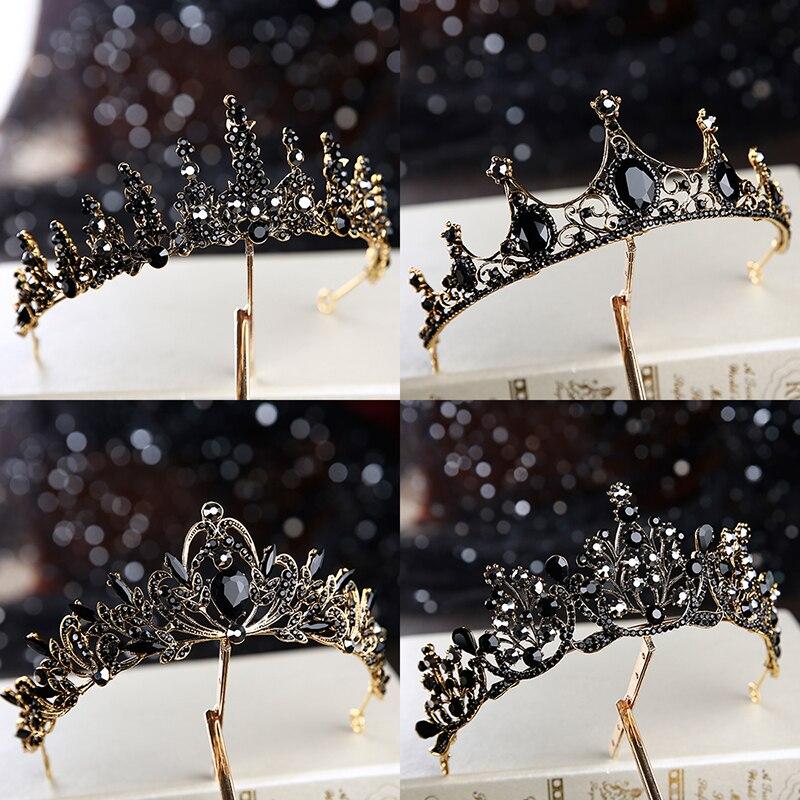 Bridal Tiara Wedding-Accessories Birthday Retro Black Baroque New