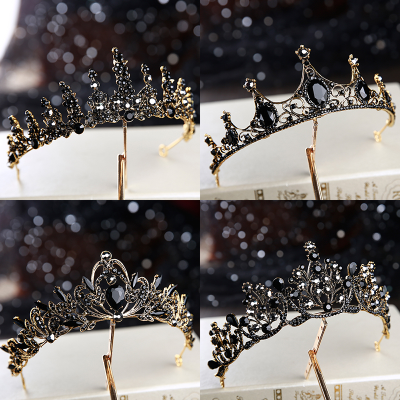 2019 new Baroque retro black luxury tiara bridal wedding accessories birthday style