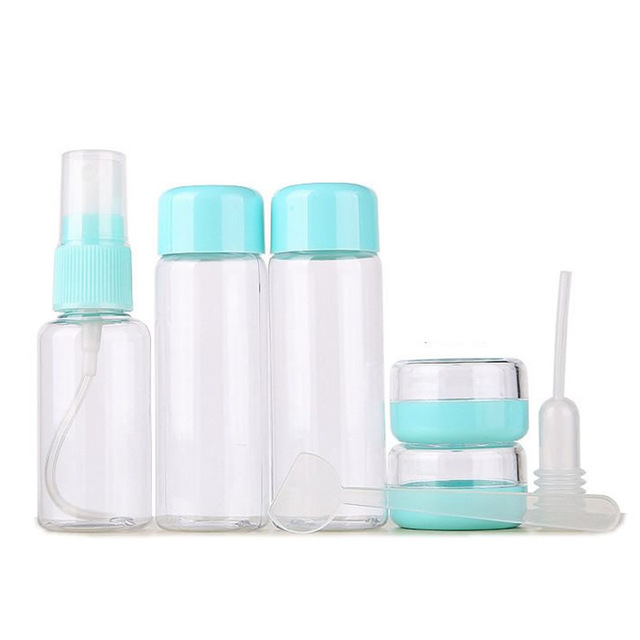 7 шт./компл. W мини набор косметики косметический крем для лица горшок бутылки пластиковые прозрачные пустые контейнер для косметики бутылка дорожные аксессуары