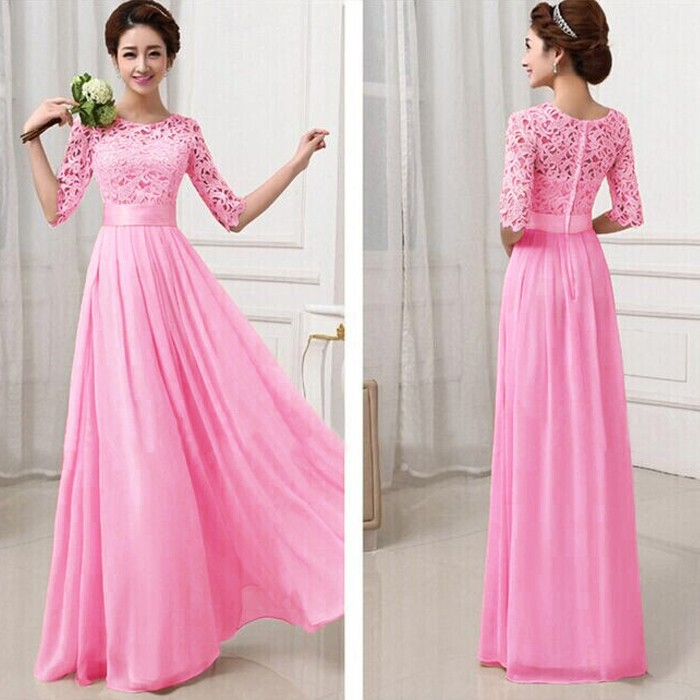 Elegant Lace Sleeve Chiffon Womens Long Formal Dress 3