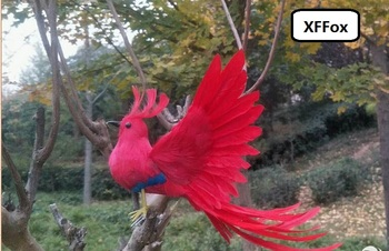 new simulation wings long tail bird model foam&furs red bird toy gift about 35cm xf0551
