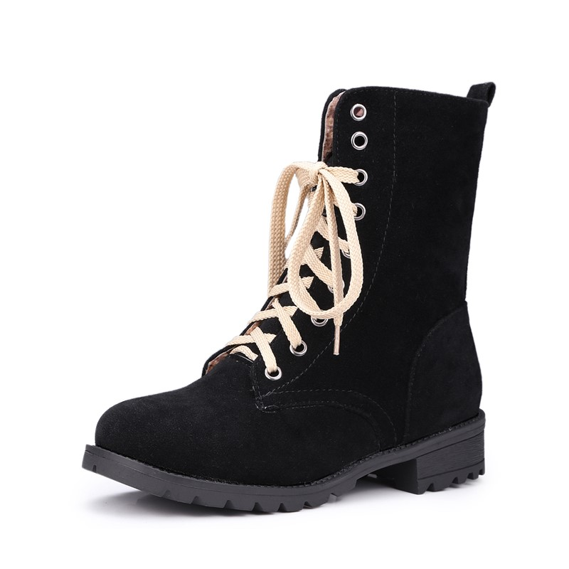 ФОТО Suede leather ladies women shoes winter Lace-Up ankle boots round toe Comfortable leather woman casual shoes