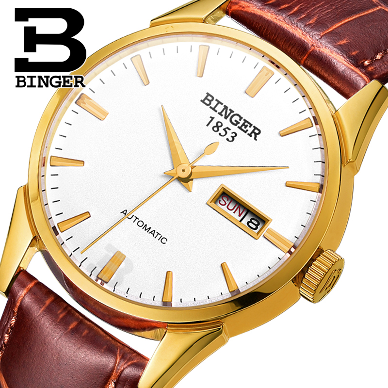Switzerland men's watch luxury brand Wristwatches BINGER 18K gold Automatic self-wind full stainless steel waterproof  B1128-22 original binger mans automatic mechanical wrist watch date display watch self wind steel with gold wheel watches new luxury