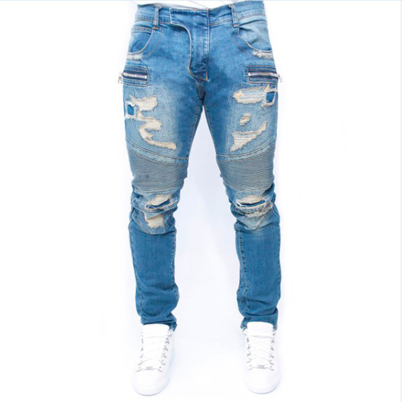 Hot New ripped jeans for men skinny Distressed slim ankle ZIPPER biker jeans hip hop swag