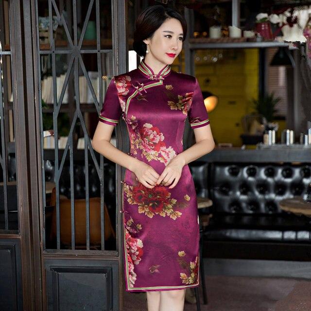 0a9252a38 Mini Style Women's Silk Satin Short Cheongsam Top Selling Traditional  Chinese Qipao Dress Vestido Size S M L XL XXL XXXL 27628A