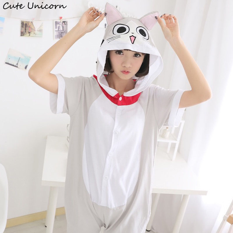 Cute Unicorn Chi's Sweet Home Adult Short Sleeve Animal Pajamas Summer Unisex Cat Cosplay Pijamas Onesies men women Pajama
