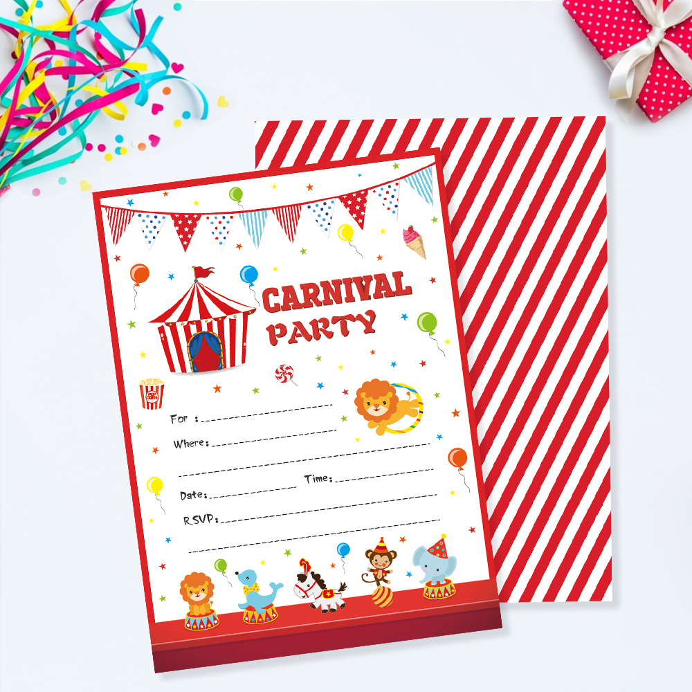 Us 4 59 40 Off Carnival Party Invitations Cards Cartoon Circus Animals Invitation Kids Carnival Theme Birthday Party Favor Decorations Zz005 In