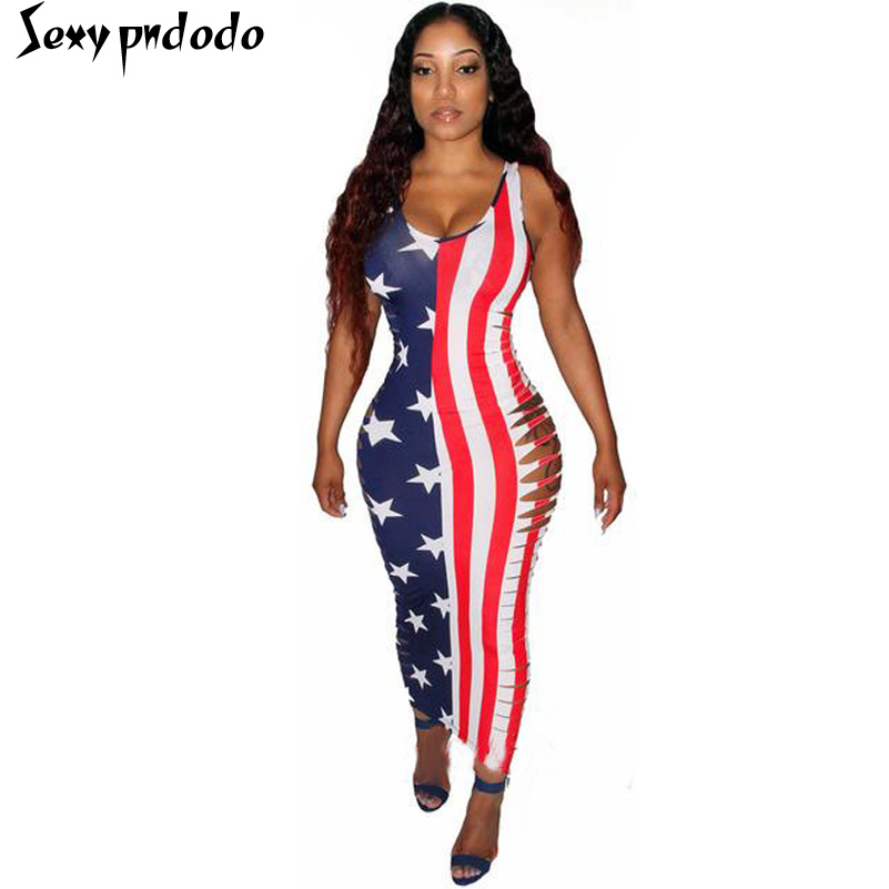 Summer Women Sexy Maxi Dress Club Wear Bodycon Robe Vintage Woman Bandage Party Dresses American Flag Dress vestido de festa