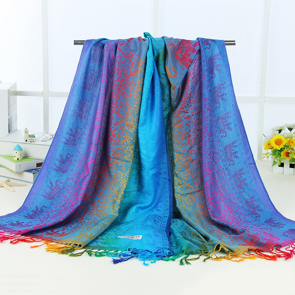 Hot Lady Women Double Sided Elephant National Wind   Scarf     Wrap   Shawl Bufanda de gasa de verano