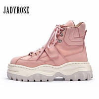 Jady Rose Cute Pink Women Ankle Boots Lace Up Platform Martin Boots Flat Botas Mujer Rubber Shoes Woman Flats Short Booties