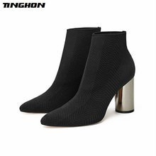 TINGHON Hot Winter Knitting Women Sock Boots Pointed Toe Slip On Ankle Boots For Warm High Heels Women Winter Boots 2017 spring sexy new women boots fretwork heels ankle boots pointed toe high heeled boots booties stretchy sock boots slip on 42