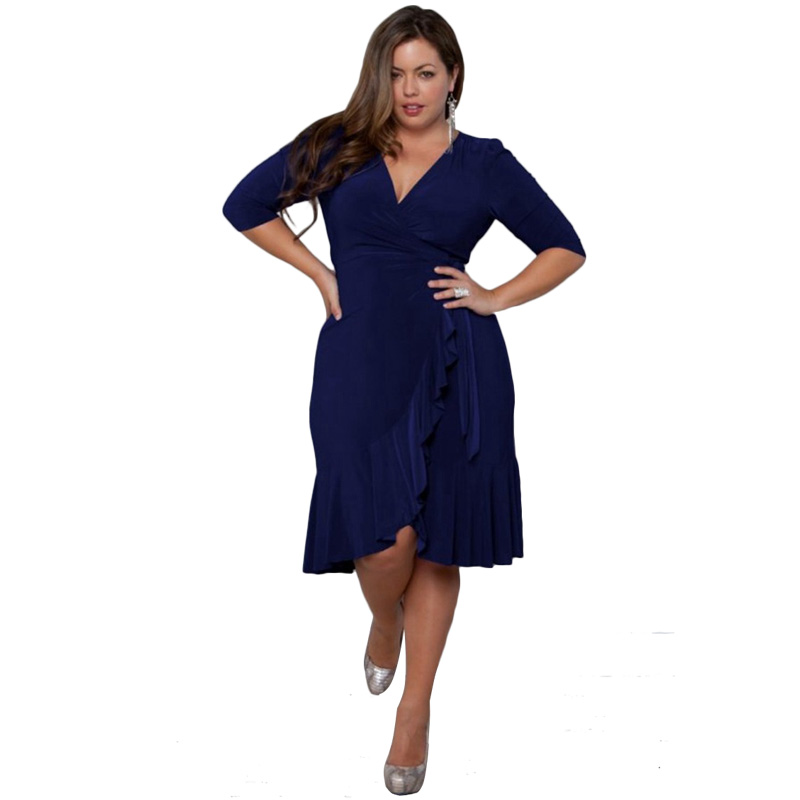 74d637dd50c 2018 New Plus Size Women Casual Half Sleeve Formal Cocktail Solid Swing  Dress summer Amazing hot sale Curve Clothing