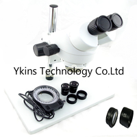 7 45X OR 3.5X 90X Big table stand Zoom Binocular Stereo Microscope+56pcs Led lights with 0.5X 2.0X objective lens for PCB repair