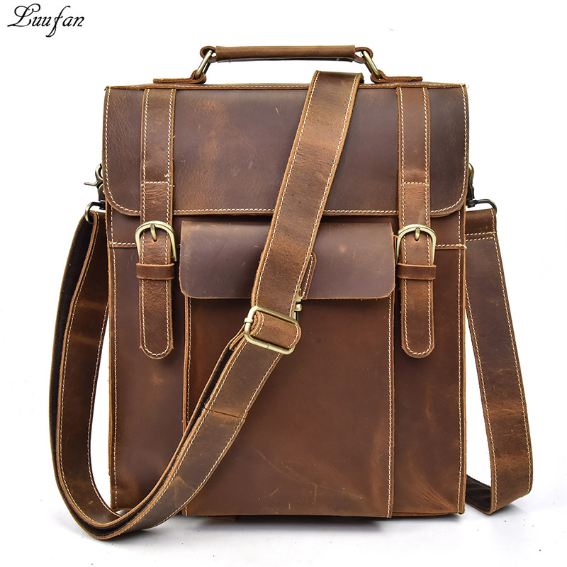 Vintage Crazy Gorse Leather Men Backpack Multifunctional Genuine Cow Leather Male Rucksack School Book Bag Daypack