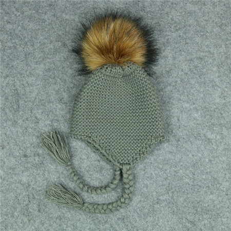 ea169a5e US $3.21 21% OFF|Baby Kids Fur Pom Bobble Cap Newborn Boys Girl Warm Knit  Beanie Hat Xmas Gift Baby Knitted Winter Warm String Hats-in Hats & Caps ...