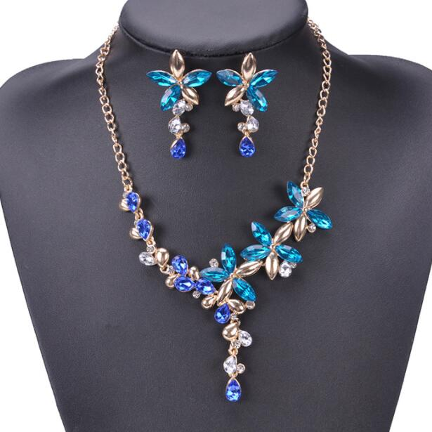Elegent Design Bridal Jewelry Crystal Gem Collar Chokers Statement Necklaces & Pendants women Evening Dress