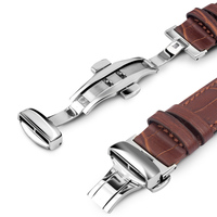 QIALINO Genuine Leather Strap Watchband For IWatch Stainless Steel Connection Adapter For Apple Watch 42mm 38mm